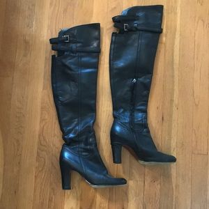 Sam Edelman Black Leather Over the Knee Boots